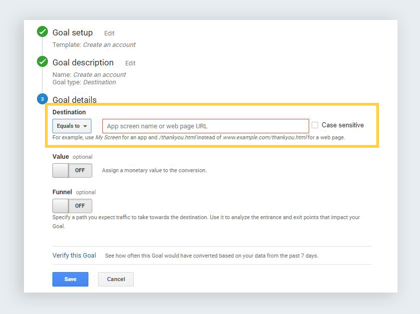 google analytics reports create conversion goal details